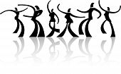 pic of person silhouette  - Vector illustration of dancing people silhouettes on white background - JPG