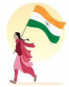 stock photo of salwar-kameez  - an illustration of a young asian woman running along with a flag of india dressed in traditional clothing on a white background with a big yellow sun - JPG