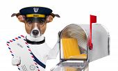 stock photo of postman  - postman mail dog with a air mail letter and mail box - JPG