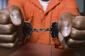 Close up of a prisoner hand's fettered with handcuffs