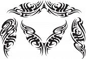 stock photo of cult  - Tribal styled tattoo patterns fit for a back - JPG