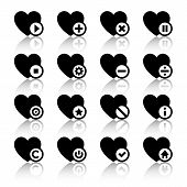 Icons set - black hearts