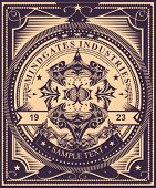 pic of occult  - Luxurious and detailed  vintage label style  poster design - JPG