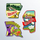 Retro illustrations of US states Louisiana, Arkansas, and Mississippi