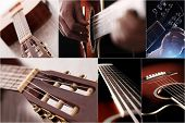 Closeup pictures of a guitar in different angles