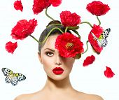 stock photo of poppy flower  - Beauty Fashion Model Woman with Red Poppy Flowers in her Hair - JPG