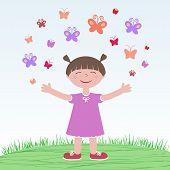 foto of pre-adolescent girl  - little girl releasing butterflies in the meadow - JPG