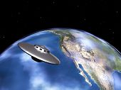 Planet Earth and Alien Spaceship
