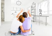 image of interior sketch  - couple at their new empty apartment - JPG