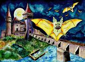 Halloween Landscape With Bats And Transylvanian Castle