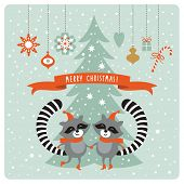 image of raccoon  - Christmas card with two raccoons - JPG