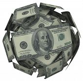 pic of accumulative  - A ball or sphere of 100 dollar american bills - JPG