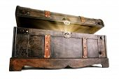 stock photo of chest  - Vintage treasure chest opens to reveal a luminous but hidden secret - JPG