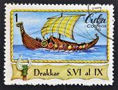 A stamp printed in Cuba shows viking boat Drakkar