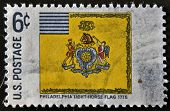 A stamp printed in USA shows Philadelphia Light Horse Flag 1775