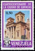 A stamp printed in Venezuela shows Temple of Santa Teresa in Caracas