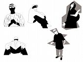stock photo of gangsta  - 5 hip hop gangsta poses and attitudes. Ideal for street and/or urban oriented design