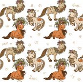 Seamless pattern with cartoon horses