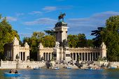 People Relaxing In The Pond Of Retiro Park In Madrid