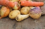 image of stew pot  - Collection of Autumn and Winter seasonal vegetables for stews and broths