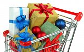 foto of trolley  - Christmas gifts in shopping trolley - JPG