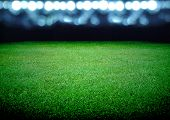 stock photo of lawn grass  - the soccer field and the bright lights - JPG