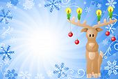 Blue Christmas Background With Reindeer