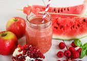 Fresh Organic Red Smoothie With Apple, Watermelon, Pomegranate, Raspberry, Strawberry