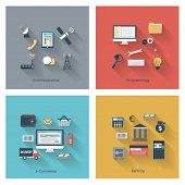 Collection of modern concept icons in flat design with long shadows and trendy colors for web, mobil