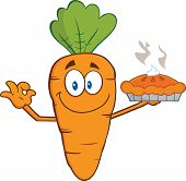 stock photo of pie-in-face  - Smiling Carrot Cartoon Character Holding Up A Pie  Illustration Isolated on white - JPG