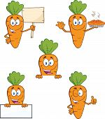 Carrot Cartoon Characters 2. Set Raster Collection