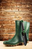 image of work boots  - Green rubber boots - JPG