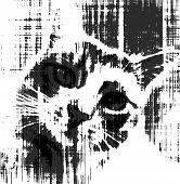 Black and white sketch of sad cat