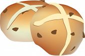 vector illustration of easter hot cross buns cut out on white
