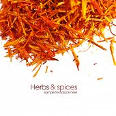 stock photo of saffron  - Saffron treads in pile - JPG