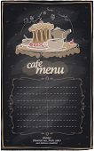 Chalkboard cafe menu with cake and place for text.