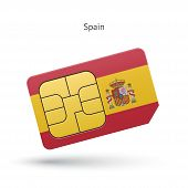 Spain mobile phone sim card with flag.