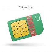 Turkmenistan mobile phone sim card with flag.