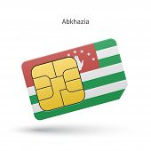 Abkhazia mobile phone sim card with flag.