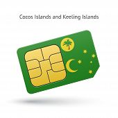 Cocos and Keeling Islands mobile phone sim card with flag.