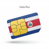 Costa Rica mobile phone sim card with flag.