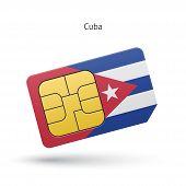 Cuba mobile phone sim card with flag.