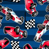 Racing Cars With Blue Stripes.