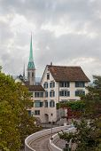 picture of zurich  - ancient street in Zurich Switzerland vertical photo - JPG