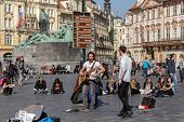 Street Musicians On Old Town Square