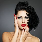 image of nail-design  - Beautiful fashion woman with red nails - JPG