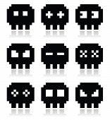 Pixelated 8bit skull vector icons set