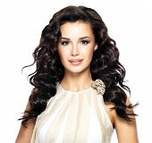 image of wavy  - Beautiful brunette woman with beauty long curly hairstyle - JPG