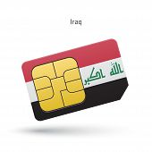 Iraq mobile phone sim card with flag.