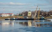pic of uglich  - Port on the Volga River in the ancient Russian town of Uglich early spring - JPG